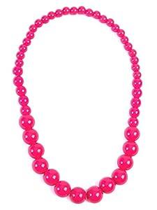 Forum Novelties X76703 Pop Art collar de perlas grandes, para mujer, rosa, talla única