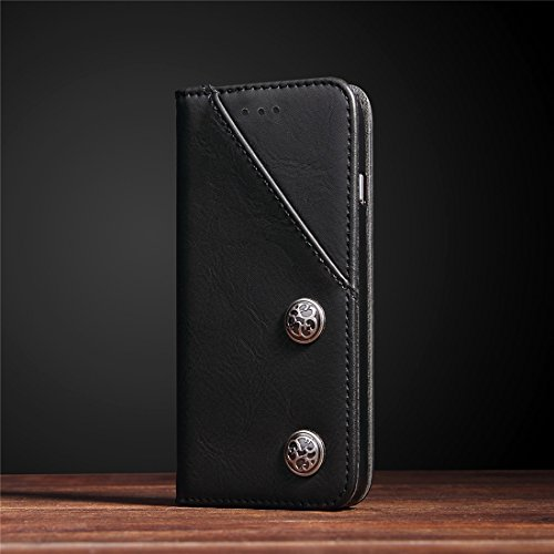 Für iPhone 7 Plus Bronze Textur Casual Style Horizontale Flip Leder Brieftasche Fall Deckung mit Halter & Card Slots by diebelleu ( Color : Black ) Black