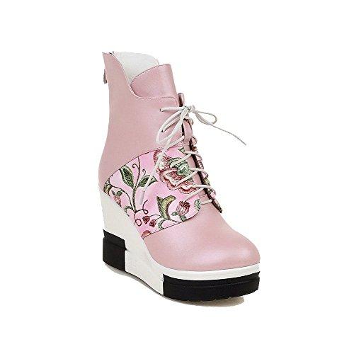 Odomolor Damen Reißverschluss Gemischte Farbe Hoher Absatz Rund Zehe Stiefel Pink