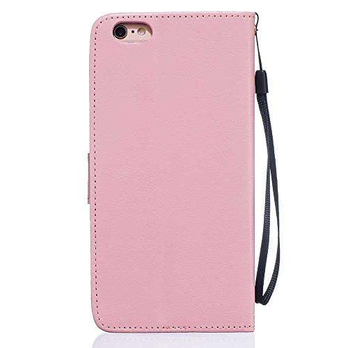 "Rabat Style iPhone 6S Plus Coque Cuir Portefeuille iPhone 6 Plus Case, Les amants et le pissenlit Embossage Motif Belle Mode Housse de Protection pour Apple iPhone 6 Plus 6S Plus 5.5"" - Bleu Rose"