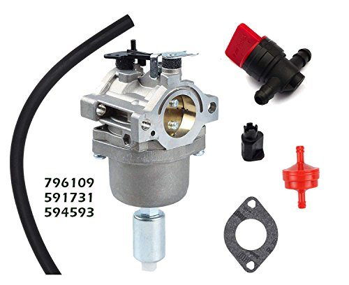 OxoxO Replace Carburetor Fuel Filter with Fuel Shut-Off Valve for Briggs & Stratton 591731 594593 796109 Replace Nikki 699915 697122 Carb Replacement Parts