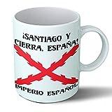 Planetacase Taza Desayuno Imperio español Cruz de Borgoña tercios de España Santiago Ceramica 330 ML