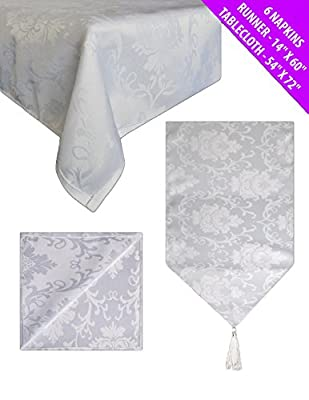 Damask Tablecloth Dining Set with Table Runner & 6 Napkins WHITE