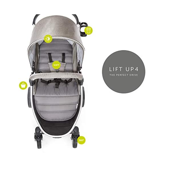 Hauck Lift Up 4, Lightweight Pushchair from Birth to 25 kg, Quick Fold with One Hand with Lying Position, Telescopic, Height-Adjustable Push Handle, Cup Holder, Charcoal Hauck EASY FOLDING - Thanks to its One-Hand-Fold mechanism, this pushchair is folded away within seconds up to a small size. This can be easily transported by the carry strap, leaving one hand free for your little one LONG USE - This buggy can be used over a long period of time as it is suitable from birth thanks to lying position and up to 25 kg. It can also be combined with the hauck Comfort Fix infant car seat + adaptors or hauck 2in1 Carrycot COMFORTABLE - Thanks to backrest and footrest beign adjustable into lying position which is suitable for bigger children, too, as well as large sun hood with UV protection and height-adjustable, telescopic push handle 6