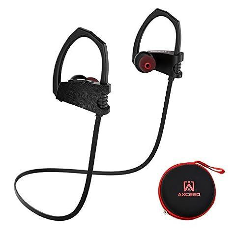 Bluetooth 4.1 Casques Sports sans fil IPX4 Écouteurs AXCEED étanches à l'eau Crochets auditifs Casque 8 heures Durée de lecture avec microphone CVC 6.0 Bouton de contrôle de réduction de bruit