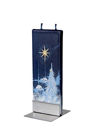 Flatyz Natale-Stella di Natale scena (Blu), doppio stoppino sottile Candela decorativa & funzionale
