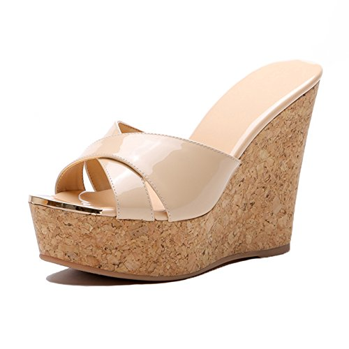 KJJDE Damen Atmungsaktiv Wedges Sandalen WSXY-L1721 Antioxidative Metallverschlüsse Prämie Aktualisierung High Heels Schuhe Bequem, Nude(12CM),38