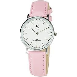 GG LUXE -Damen Armbanduhr weiß Silber Quarz Gehäuse Stahl Analog Display Typ Water resist 30M-3ATM Armband Leder Rosa