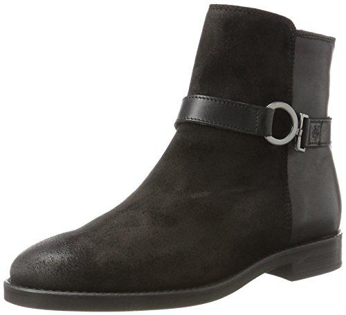 Marc O'Polo Damen Flat Heel Bootie 70814226001311 Schlupfstiefel, Schwarz (Black), 37 EU (Schwarzer Bootie Heels)