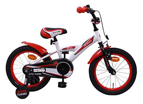AMIGO BMX Turbo - Kinderfahrrad - 16 Zoll - Jungen - mit Rücktritt und Stützräder - ab 4 Jahre - Weiß/Rot