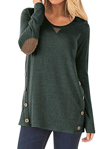 NICIAS Damen Seitliche Tasten Langarmshirt Pullover Lässige Rundhals Sweatshirt Ellenbogen Gepatcht Hemd Lose T Shirt Blusen Tunika Top(Dunkelgrün, M)