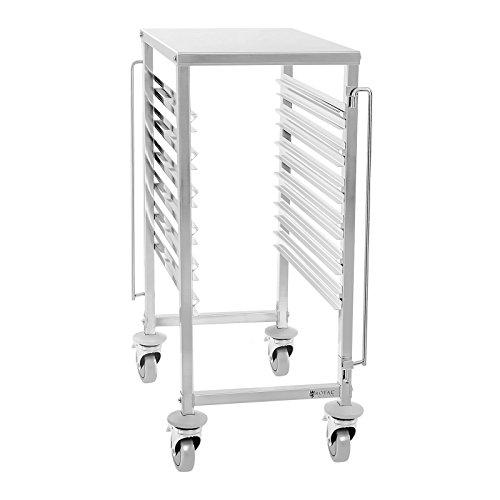 Royal Catering - Tablettwagen Abräumwagen (6 GN 1/1 Behälter, 4 Räder aus Vollgummi, Feststellbremse, Edelstahl + Montagematerial) Silber
