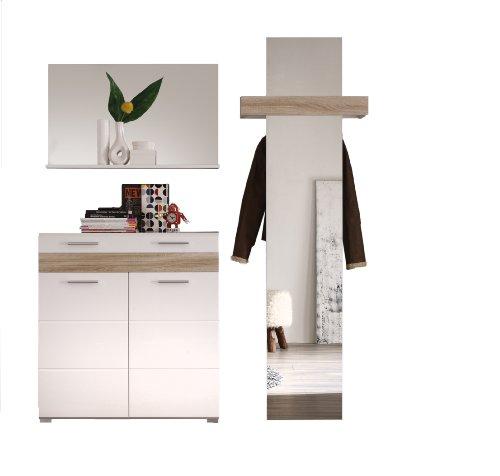 trendteam MZ91141 Garderoben Set Garderobe 3-teilig weiß hochglanz, Eiche-sägerau hell Rillenstruktur, BxHxT 168x195x39 cm