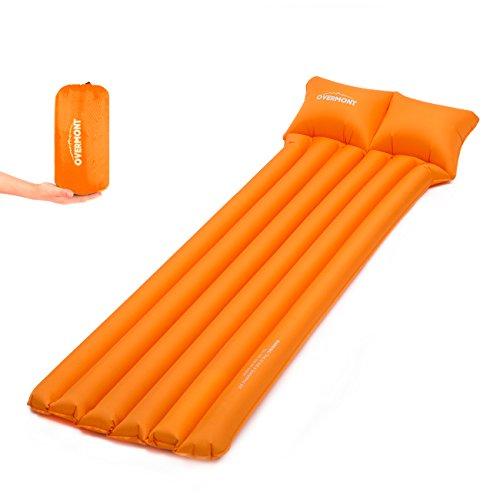 Overmont Aufblasbar Campingmatratze Luftmatratze Sleeping Pad mit Kopfkissen für Zelt Reisen Entspannen Strand (Blau/Orange)