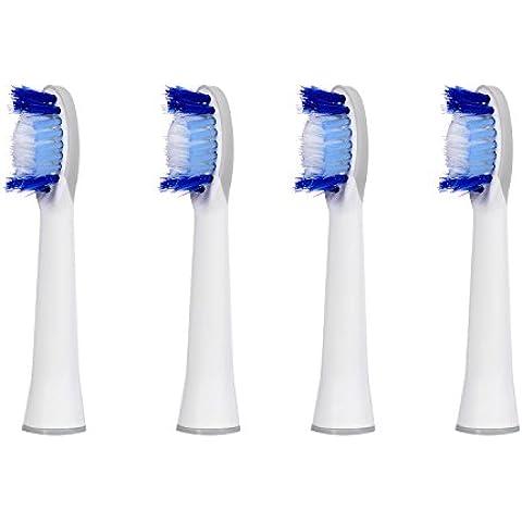 4 uds (1x4) de cabezales para cepillos de dientes E-Cron®. Oral B Pulsonic (SR32-4) recambios. Totalmente compatibles con los siguientes modelos de cepillos de dientes eléctricos Oral-B: Pulsonic Slim, Pulsonic y Pulsonic SmartSeries.