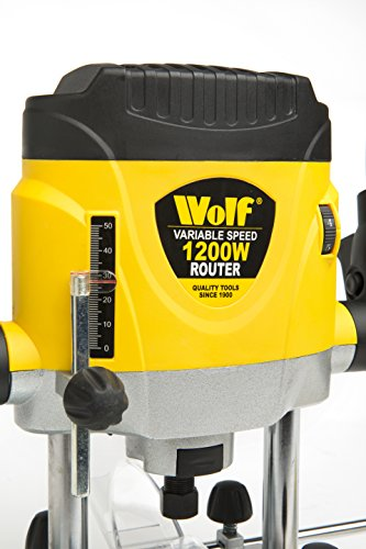"Wolf 1200w Variable Speed Plunge Router Power Tool - Supplied with 6mm, 8mm and 1/4"" Collets"