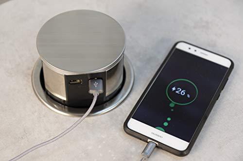 Otio - Bloc multiprise escamotable compact 16A 3 prises 16A 2P+T et 2 prises chargeurs USB - Finition Inox