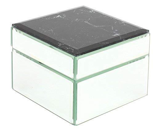 Schwarz Marmor und Spiegel Unterteilte Schmuck Box