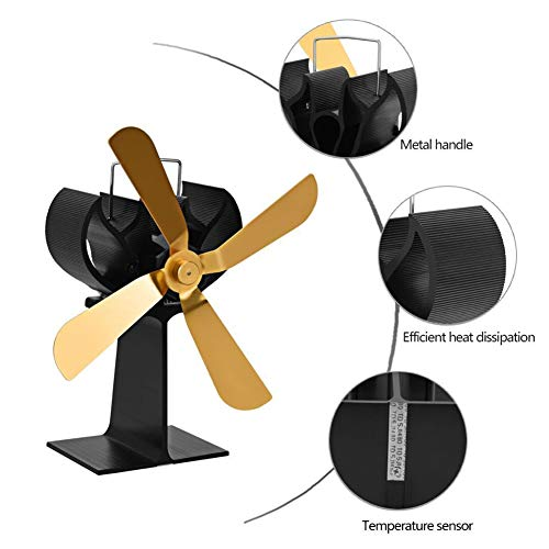 4 Blades Heat Powered Wood Stove Fan, Home Ultra Quiet Thermal Fireplace Fan Eco-Friendly Fans for Wood Log Burner -