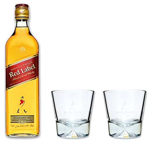 Walker Set (Johnnie Walker red label Whisky 0,7l 40% Set mit 2 orginal Tumbler Gläser)
