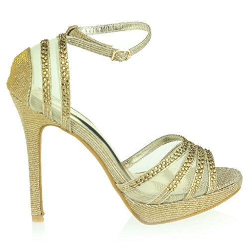 Frau Damen Zwei Teil Offener Zeh Fesselriemen Plattform Diamant Dünn Hoher Absatz Abend Party Hochzeit Abschlussball Braut Sandalen Schuhe Größe Gold