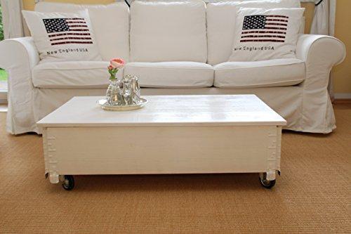 Uncle Joe´s Couchtisch Truhentisch Truhe im Vintage shabby chic Style aus Massiv-Holz in weiss mit Stauraum und Deckel Holzkiste Beistelltisch Landhaus Wohnzimmertisch Holztisch weiß