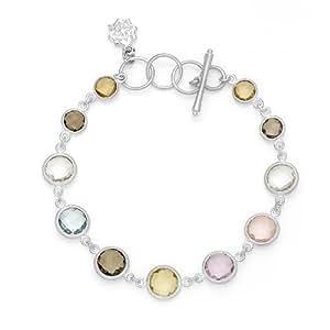 Dower & Hall Jewel Sterling Silver Faceted Multi Gemstone T-Bar Bracelet of 19cm