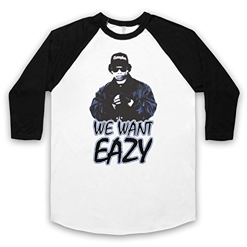 Inspiriert durch Eazy E We Want Eazy Picture Unofficial 3/4 Hulse Retro Baseball T-Shirt Weis & Schwarz