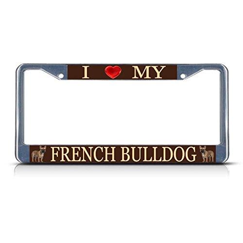 Metallschild mit Aufschrift I Love My French Bulldogge, 2 Löcher, perfekt für Männer, Frauen, Auto-Dekoration (Gnome Dodger)