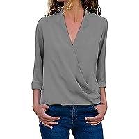 Damark Donna Camicetta Blusa Elegante Collo a V Maniche Lunghe T-Shirt Crop Top Ragazza Moda Maglia Maglione Pullover Elegante Camicetta Magliette Maglietta Donna Tops