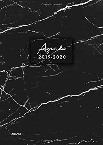 Agenda 2019-2020 italiano: Agenda settimanale 2019 2020 18 mesi,  Agenda giormaliera metà anno, luglio 2019 - dicembre 2020, modello di marmo nero