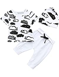 PAOLIAN Conjuntos para Unisex Bebe Verano Gorro y Camisetas y Pantalones  2018 Ropa Recién Nacidos Bebés Fiestas Manga Corta… bfc75255ed8b