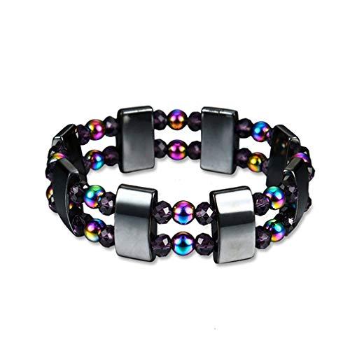 BeipeY Doppelschicht Bunte Energie Stein Armband Handgemachte Magnet -