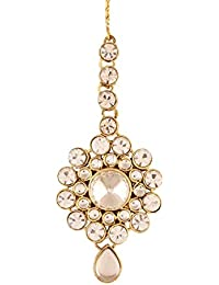 I Jewels Traditional Gold Plated Maang Tikka for Women T006W (White)