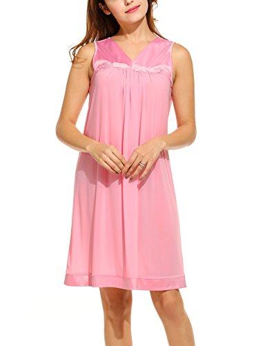 HOTOUCH Damen Nachthemd Sleepwear Nachtkleid Ärmellose Nachtwäsche Mit Blumenapplikationen V-Ausschnitt Falten A-Linie Typ1-Rosa