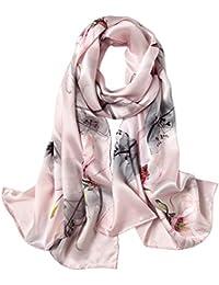 076fe80070f8 Omasuwi Foulard in Seta Primavera Estate e Autunno in Raso Stampa Seta  Sciarpa Lunga Stile Europeo e Americano (Color   Pink