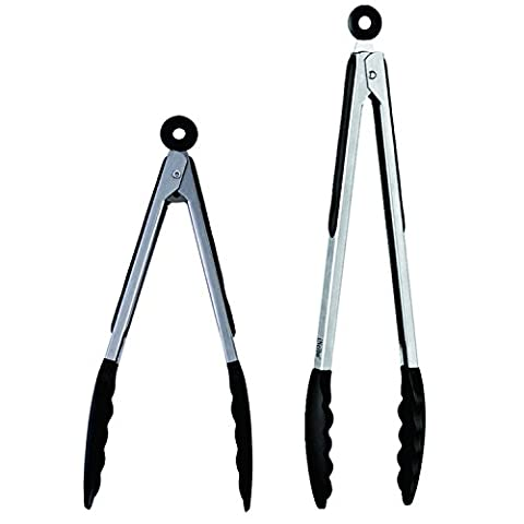 iNeibo Kitchen Premium Silicone Tongs - Pack of 2, 9