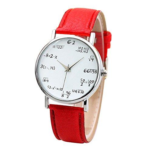 Damen Uhr Mode Mathe Funktion Muster Leder Band Legierung Analog Quarz Vogue Uhren Armbanduhren Für Frauen Rot (Vogue Uhren Frauen)