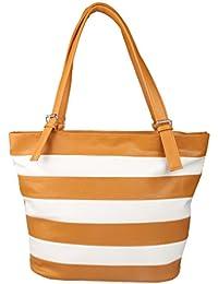 Caroll Women's Stylish Hand Bag (Yellow & White)