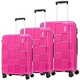 American Tourister Rumpler Set of 3, Hard Luggage Trolley Bags With TSA Lock,55+68+82cm, Pink