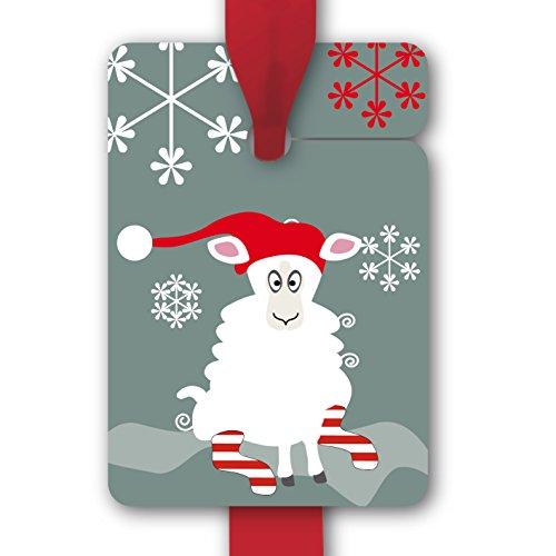 Preisvergleich Produktbild Weihnachts Geschenkanhänger mit lustigem Weihnachts / Nikolaus Schaf (80Stk) | Papieranhänger | Geschenkkarten, Etiketten