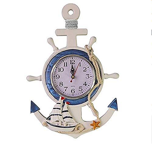 Uhr Strand Meer Thema Seeschiff Rad Ruder Lenkrad Wandbehang Dekor ()