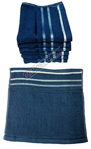 Homes & Deco Pack von 6Face Reinigungstuch Luxuriöse Ägyptische Waschhandtücher 100% Baumwolle Face Seiftuch 30x 30 Marineblau Gestreift (Luxuriöse Ägyptische Baumwolle-bad)