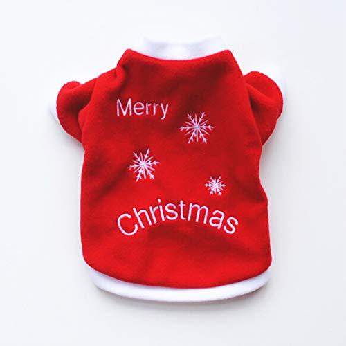 Weihnachten Themed Kostüm - BONNIO Hund Weihnachten Kleidung Haustier Winter Kleidung Hunde Welpen lustige Stickerei warme rote T-Shirt