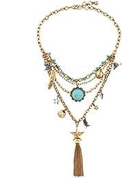 Lureme Boho Collar de múltiples capas de la vendimia con los colgantes de la pluma de la estrella de la borla de la flor de la turquesa (nl005815)