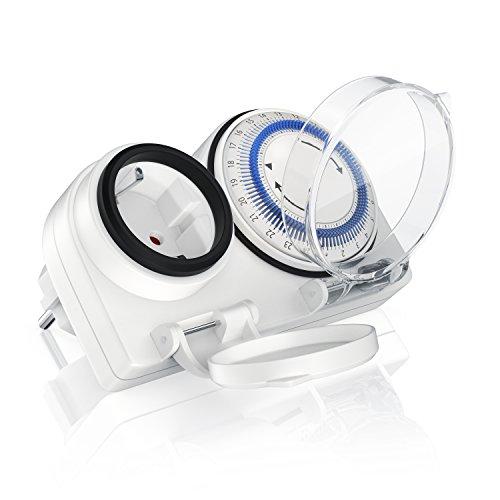 Bearware - Zeitschaltuhr Outdoor mechanische Timer - 96 Schaltsegmente - Einstellung in 15 Minuten Schritten - 3680W - IP 44 Schutzart Outdoor - spritzwassergeschützt - Kinderschutzsicherung