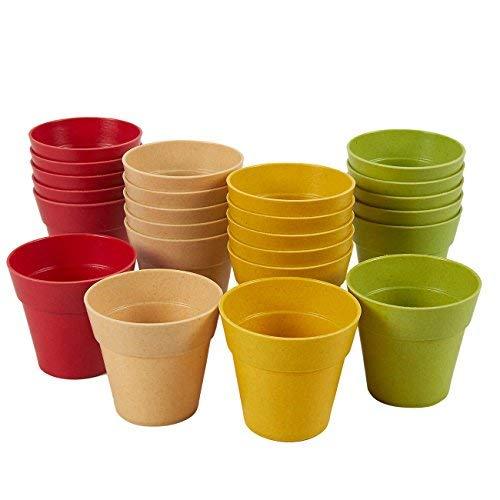 Vaso in plastica-Confezione da 24vasi di fiori mini, mini vaso di fiori, per uso interno, esterno pianta, piante grasse display, 4colori assortiti, 3,8x 5,8cm