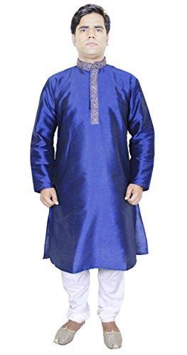 SKAVIJ Herren Tunika Kurta Pyjama Party Tragen Kleid (Blau, Brustumfang - 107 cm) -