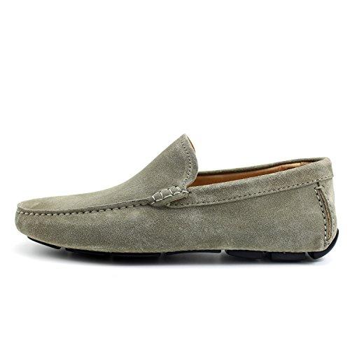 GIORGIO REA Chaussures Homme Car Shoes Gris Plomb Mocassins Mâle Main Italiennes, Cuir, Élégant, Classique, Oxford Classic Shoes