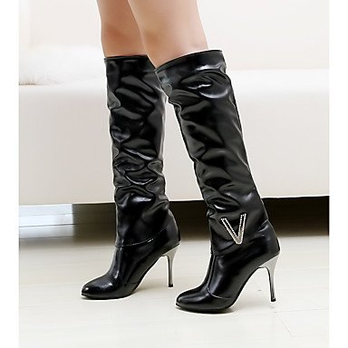 Rtry Femmes Chaussures Nubuck Similicuir Similicuir Automne Hiver Mode Bottes Stiletto Bottes Talon Bout Rond Cuisse-haute Bottes Strass Pour Casual Us8.5 / Eu39 / Uk6.5 / Cn40